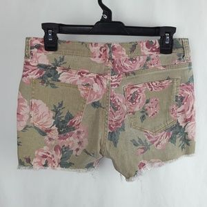 Forever 21 Shorts - F21 Flower Rose Print Frayed Short Shorts